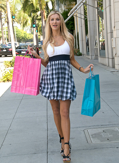 Woman shopping on Rodeo Drive Beverly Hills CA