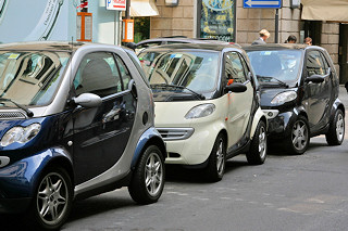 smart cars parked