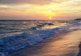 Sunset on Florida Gulf Coast beach.