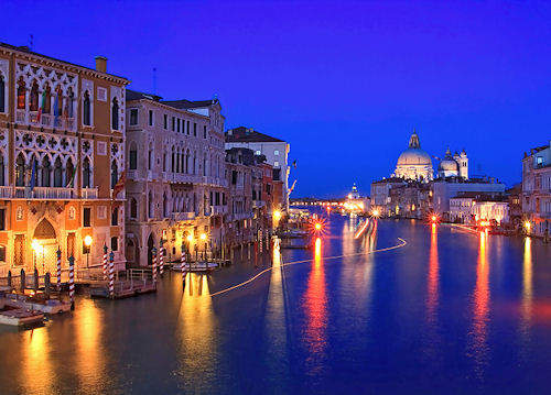 Evening view of the Grand Canal from the Ponte dell' Accademia footbridge in Venice Italy