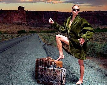 woman hitchhiker along road