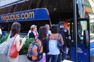 Passengers boarding Megabus.com bus.
