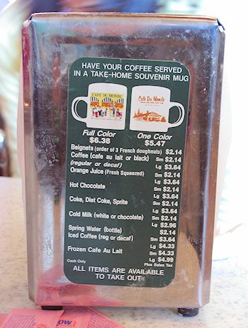 Cafe du Monde menu in New Orleans LA