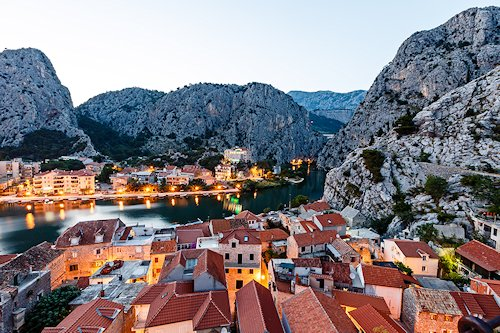 Evening view of Omis Croatia