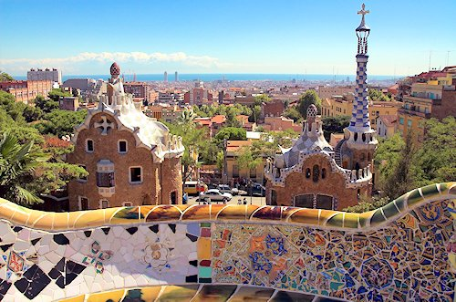 ceramic mosaic in park guell Barcelona Spain