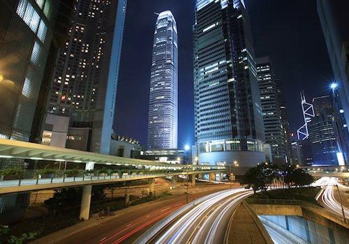 Traffic in downtown Hong Kong at night.